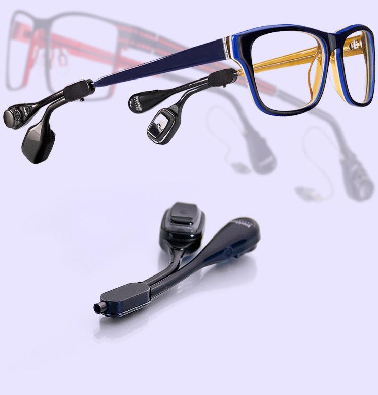 Bruckhoff Hörbrillen mit Knochleitungsmodul und Luftleitungsystem.